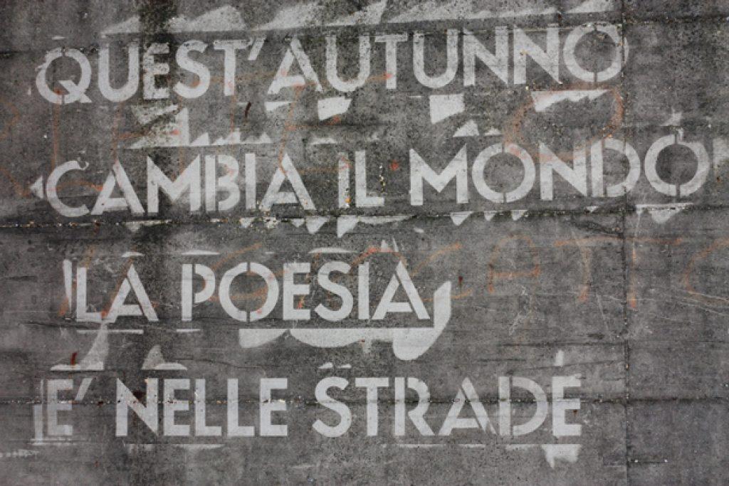 Poesia scritta su un muro